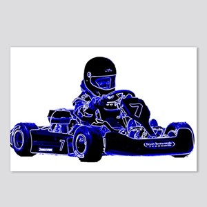 Kart Racing Blue and White Postcards (Package of 8