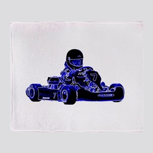 Kart Racing Blue and White Throw Blanket