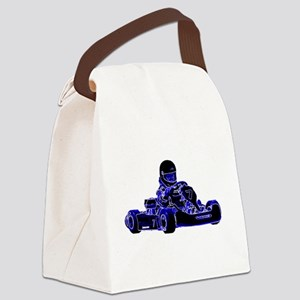 Kart Racing Blue and White Canvas Lunch Bag