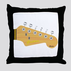 Isolated Guitar Headstock Throw Pillow