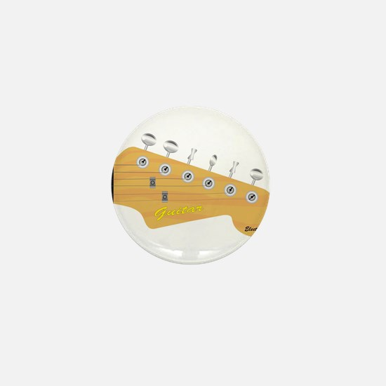 Isolated Guitar Headstock Mini Button