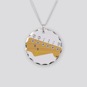 Isolated Guitar Headstock Necklace Circle Charm