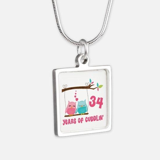 34th Anniversary Owl Couple Silver Square Necklace