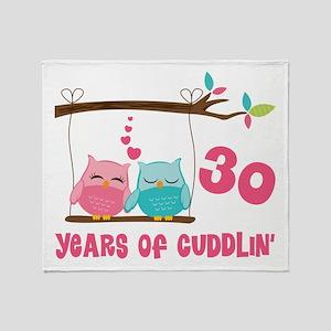 30th Anniversary Owl Couple Throw Blanket