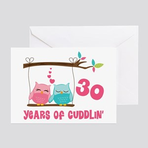 30th Anniversary Owl Couple Greeting Cards (Pk of