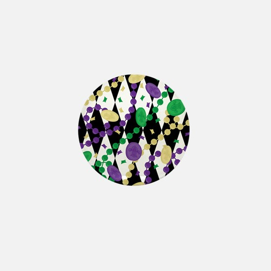 Mardis Gras Beads Mini Button