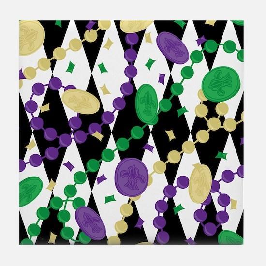 Mardis Gras Beads Tile Coaster