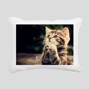 Praying kitten Rectangular Canvas Pillow