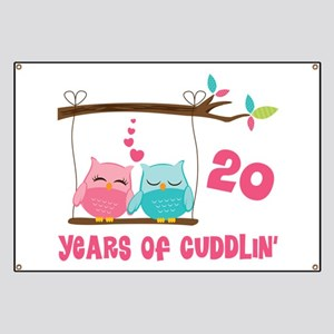 20th Anniversary Owl Couple Banner