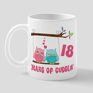 18th Anniversary Owl Couple Mug