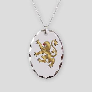 English Lion Rampant Necklace Oval Charm