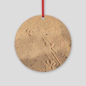 turkey tracks in sand Round Ornament