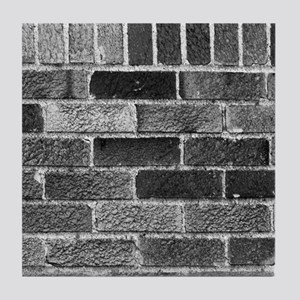Black White Gray Bricks Industrial Building Patter