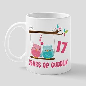 17th Anniversary Owl Couple Mug