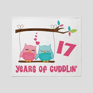 17th Anniversary Owl Couple Throw Blanket