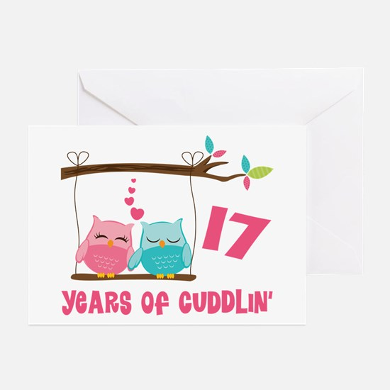 17th Anniversary Owl Couple Greeting Cards (Pk of