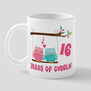 16th Anniversary Owl Couple Mug