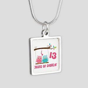 13th Anniversary Owl Couple Silver Square Necklace