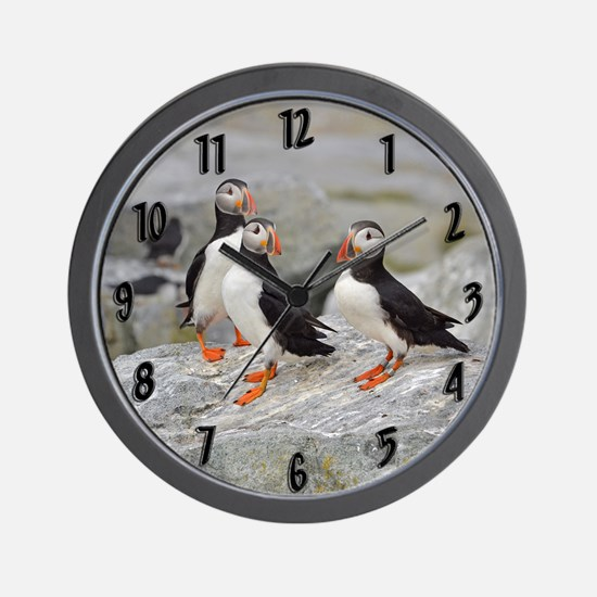 3 puffins Wall Clock
