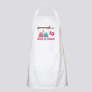 10th Anniversary Owl Couple Apron
