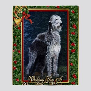 Irish Wolfhound Dog Christmas Throw Blanket