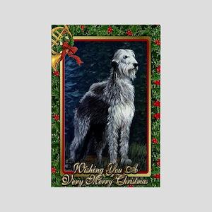 Irish Wolfhound Dog Christmas Rectangle Magnet