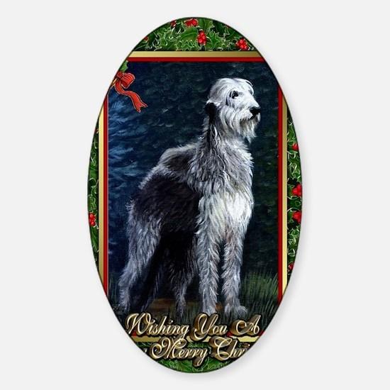 Irish Wolfhound Dog Christmas Sticker (Oval)