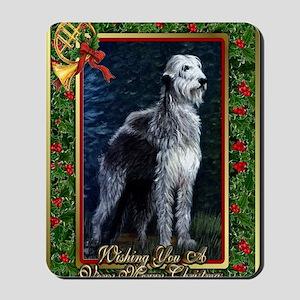 Irish Wolfhound Dog Christmas Mousepad