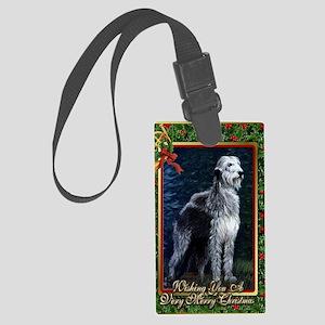 Irish Wolfhound Dog Christmas Large Luggage Tag