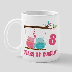 8th Anniversary Owl Couple Mug