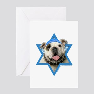 Hanukkah Star of David - Bulldog Greeting Card