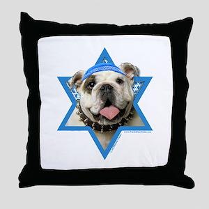 Hanukkah Star of David - Bulldog Throw Pillow
