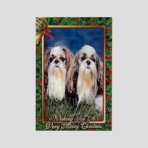 Shih Tzu Dog Christmas Rectangle Magnet