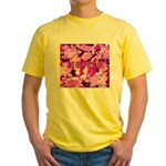 Pink Roses & Cherry Blossoms Yellow T-Shirt