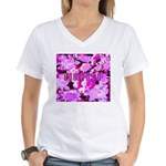 Pink Roses & Cherry Blossoms Women's V-Neck T-Shir