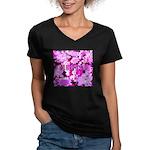 Pink Roses & Cherry Blossoms Women's V-Neck Dark T