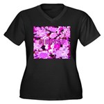 Pink Roses & Cherry Blossoms Women's Plus Size V-N