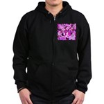 Pink Roses & Cherry Blossoms Zip Hoodie (dark)