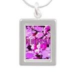 Pink Roses & Cherry Blossoms Silver Portrait Neckl
