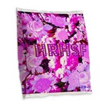 Pink Roses & Cherry Blossoms Burlap Throw Pillow