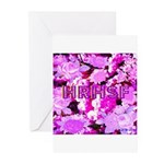 Pink Roses & Cherry Blossoms Greeting Cards (Pk of