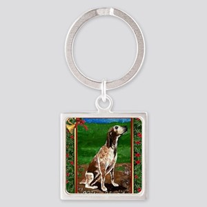 Redtick Coonhound Dog Christmas Square Keychain