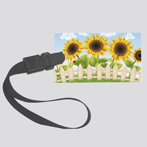 Cute Sunflowers Large Luggage Tag