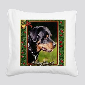 Rottweiler Dog Christmas Square Canvas Pillow