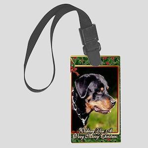Rottweiler Dog Christmas Large Luggage Tag