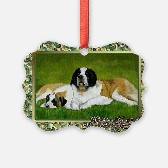 Saint Bernard Dog Christmas Ornament