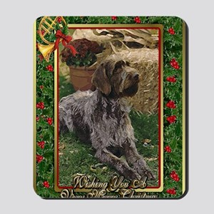 German Wirehaired Pointer Dog Christmas Mousepad
