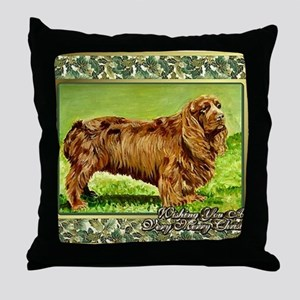 Sussex Spaniel Dog Christmas Throw Pillow