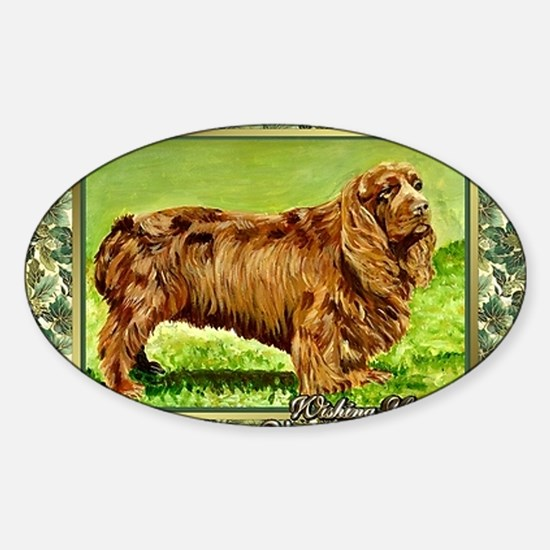 Sussex Spaniel Dog Christmas Sticker (Oval)