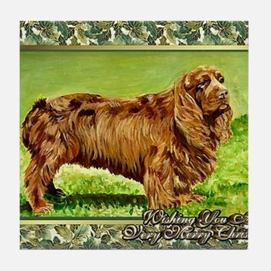 Sussex Spaniel Dog Christmas Tile Coaster